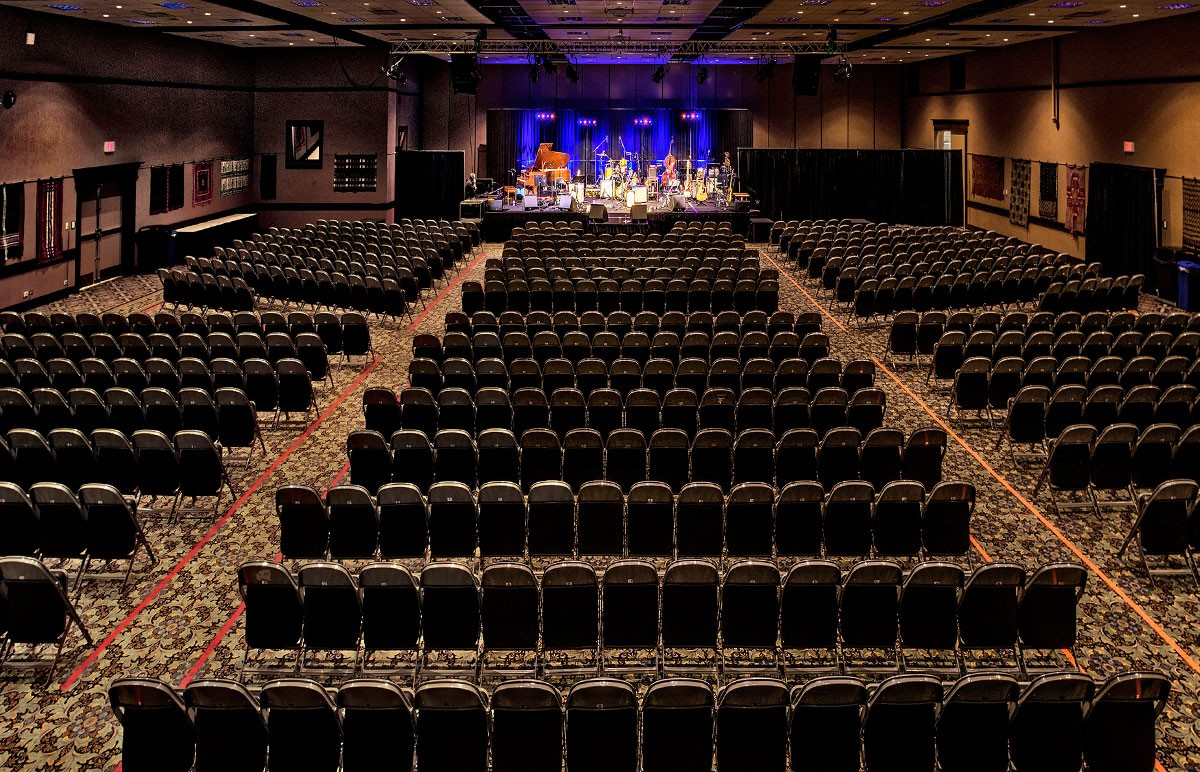 Ballroom 1 theatre style set up with stage