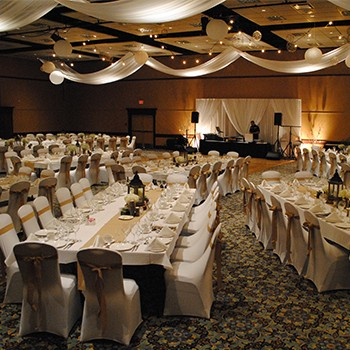 Wedding family-style tables with dance floor