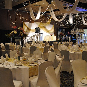 Wedding with tables, decor and stage