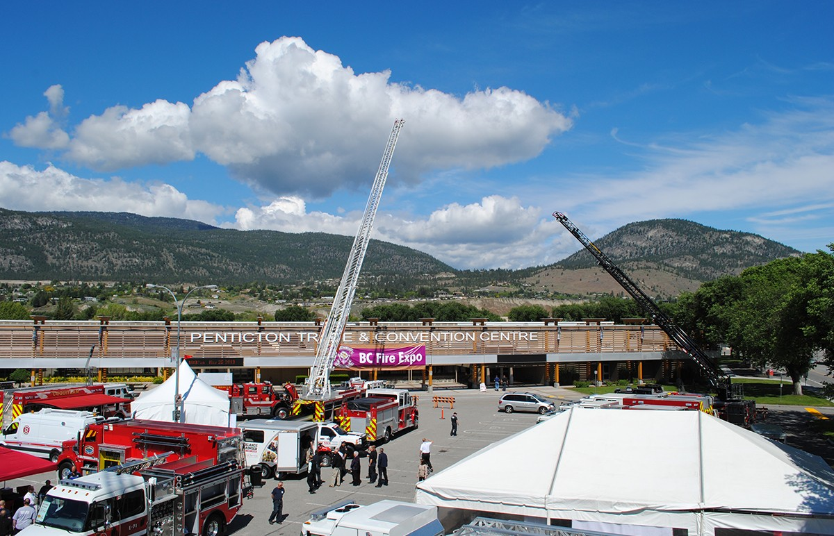 Fire engines in convention centre parking lot in Penticton