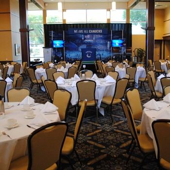 North Lobby banquet-style set up for Vancouver Canucks